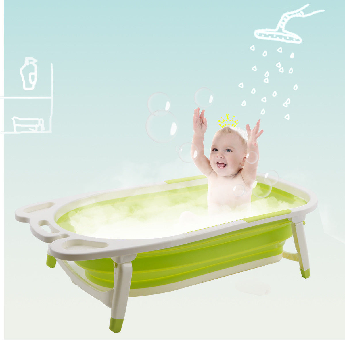 Gymax Green Baby Folding Bathtub Infant Collapsible Portable Shower Basin w  Block by Gymax