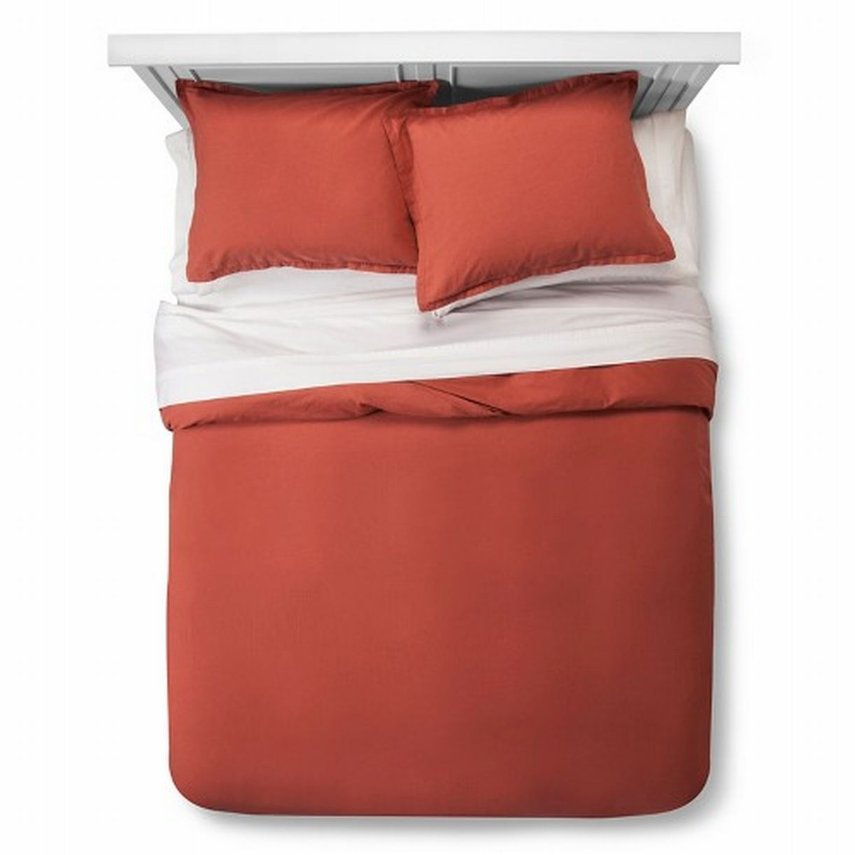 Threshold Burnt Orange Washed Linen Blend Duvet Set King Cover & Shams 3 Pc