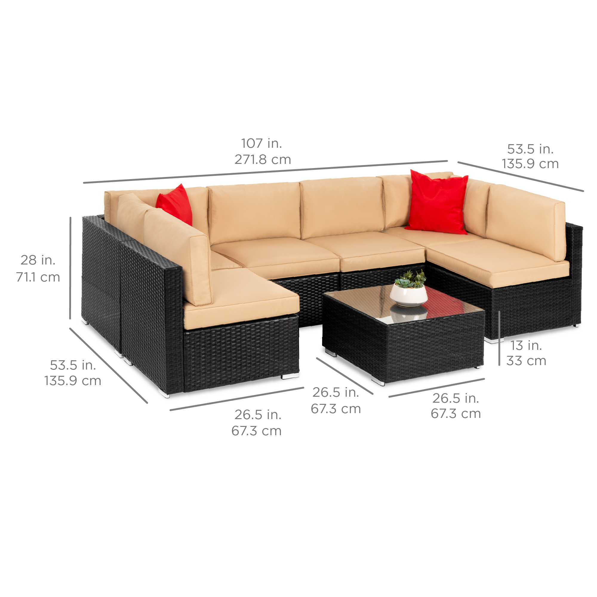 Best Choice Products 7 Piece Modular Outdoor Patio Furniture Set Wicker Sectional Sofas W Cover Seat Clips A Black Walmart Com Walmart Com