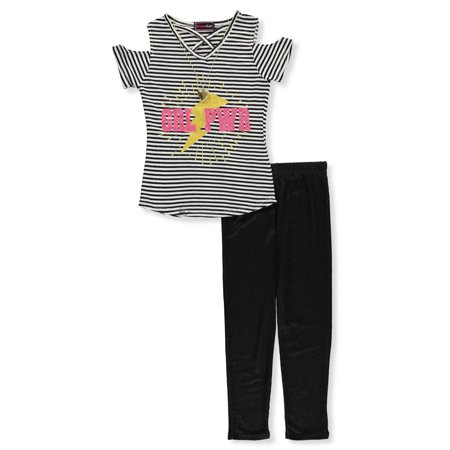 Dream Star Girls' 2-Piece Leggings Set Outfit with Necklace](Rock Star Outfit)