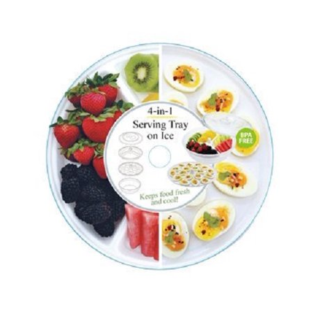4-in-1 Serving Tray on Ice - Salad Bowl, Egg Tray & Appetizer Tray with Lid (Appetizer Boat)