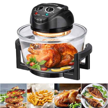 Hometech 12 Quart 1200W Halogen Convection Countertop Oven (Matt Black), Accessories including: Extender Ring(to 17 Quart), Lid Holder, Frying Pan, Tongs, Dual Rack