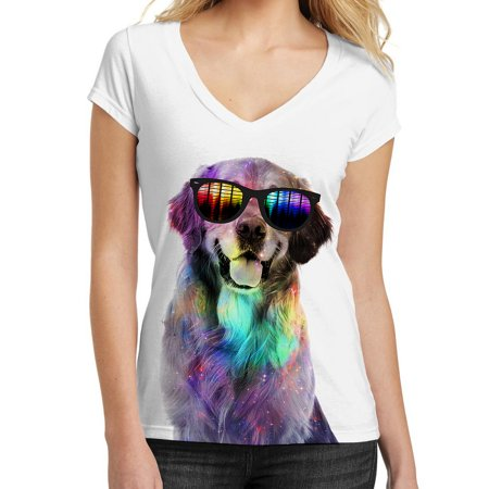 - Galaxy Rave Golden Retriever Tee B678 Junior's White V-Neck T-Shirt X-Large
