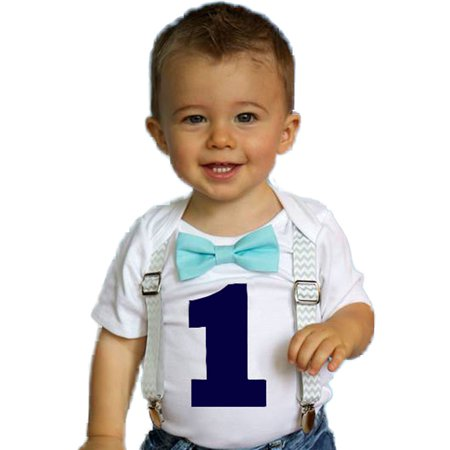 Noah's Boytique Boys Cake Smash Outfit First Birthday Grey Chevron Aqua Bow Navy Number One 12-18 Months
