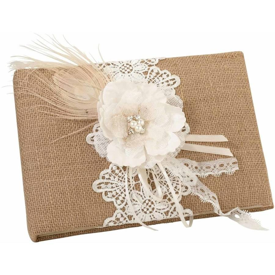 Lillian Rose Burlap and Lace Guest Book