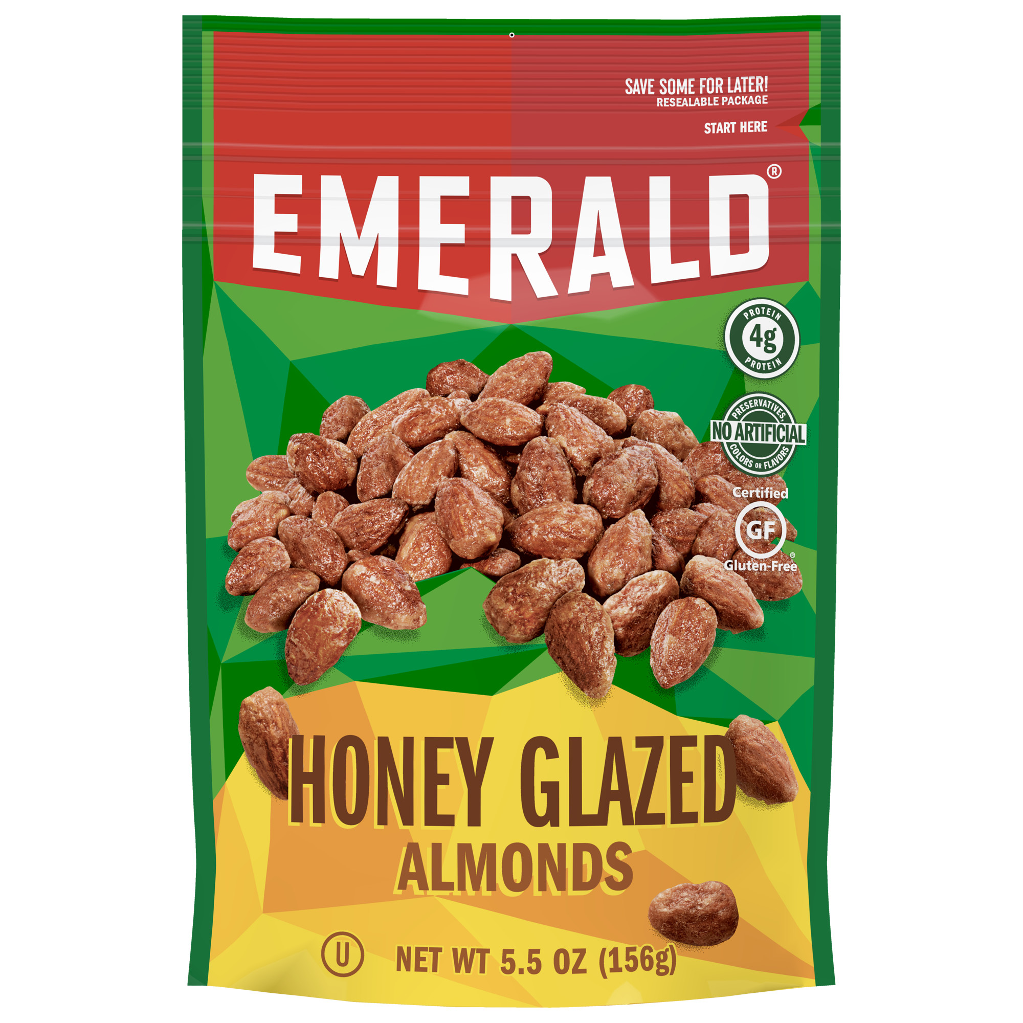 Emerald Nuts Honey Glazed Almonds, 5.5 Oz Resealable Bag