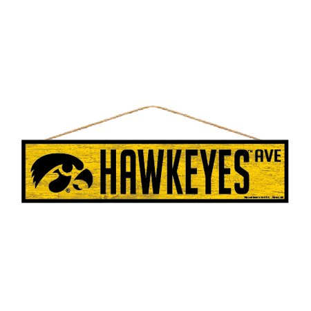 Iowa Hawkeyes Official NCAA Wood Street Wall Sign 4x17 by Wincraft 880420