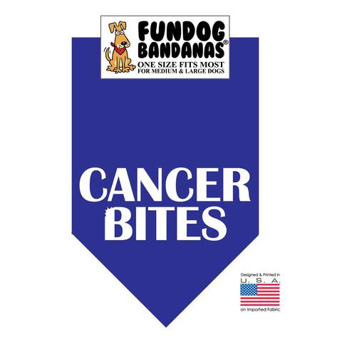 Fun Dog Bandana - Cancer Bites - One Size Fits Most for Med to Lg Dogs, royal blue pet scarf