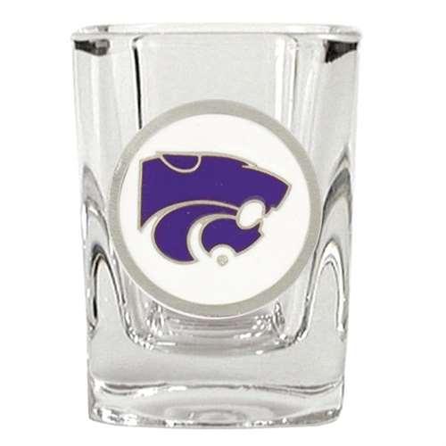 Kansas State Wildcats 2oz Square Shot Glass - Team Color Pewter Logo
