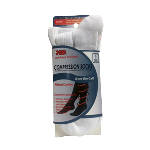 Md Ribbed Cushion Over The Calf Compression Socks White, Large - 1 Pr