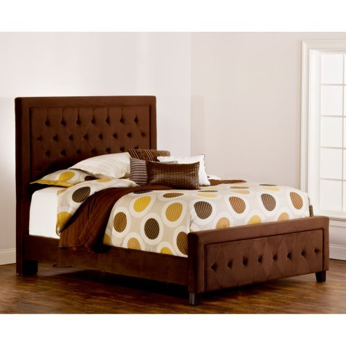 Kaylie Upholstered Low Profile Bed-Chocolate