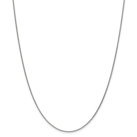 14k White Gold 1mm Cable Chain Necklace - Lobster Claw - Length: 14 to 24 14k White Gold Lobster Claw