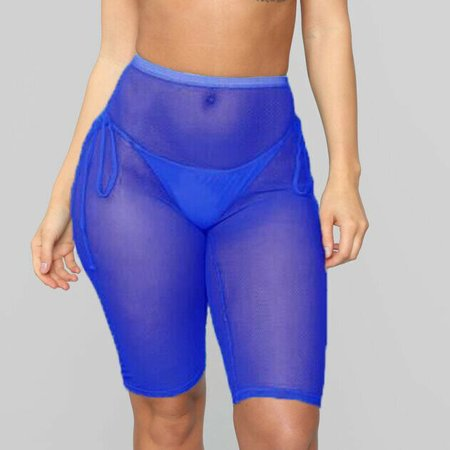 Womens Sexy Mesh Sheer Short Trousers Bikini Swimsuit Cover Up Beach Transparent Pants Blue M