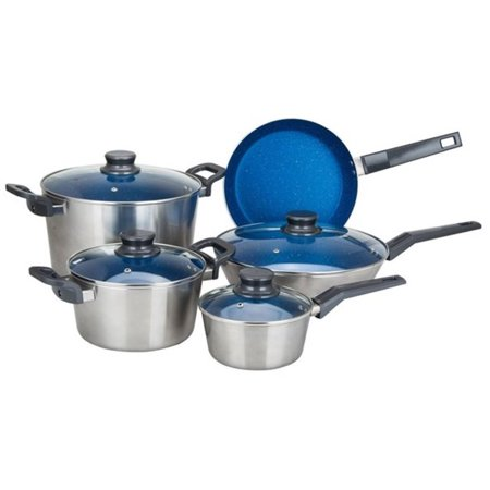 Alpine cuisine 9 piece aluminum cookware set in silver and for Alpine cuisine cookware