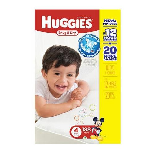 Baby Diaper Huggies Snug Dry Tab Closure Size 4 Disposable (188 CA) by Kimberly-Clark