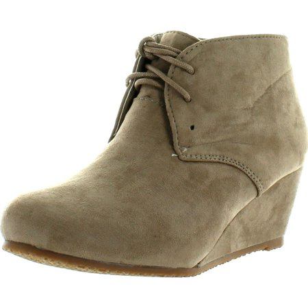 Anna Sally-5K Cute Fashion New Faux Suede Pumps Lace up Girls High Heels Kids Ankle Boots Youth Size (Ankle Boot Pump)