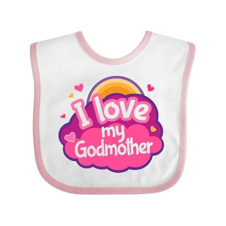 Godchild Gift - I Love My Godmother Gift For Godchild Baby Bib