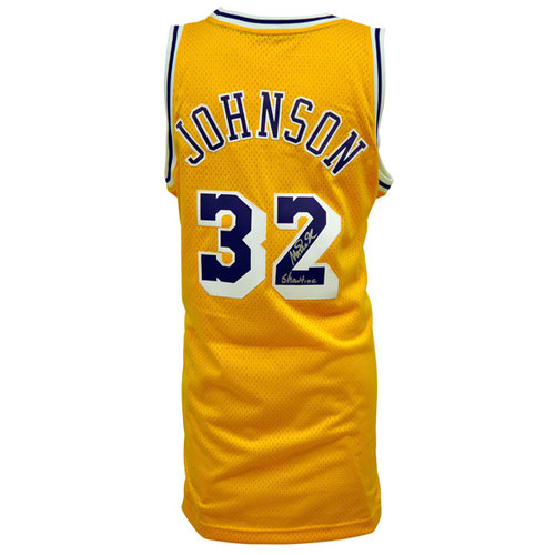 "NBA - Magic Johnson Autographed Jersey | Details: Los Angeles Lakers, Adidas, Swingman, Yellow, with ""Showtime"" Inscription"