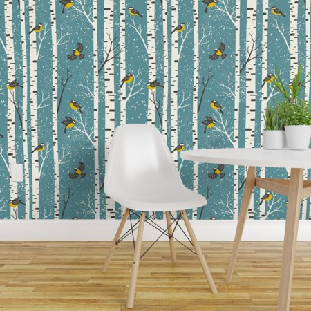 Removable Water Activated Wallpaper Snow Birds Winter Birch Forest Woo