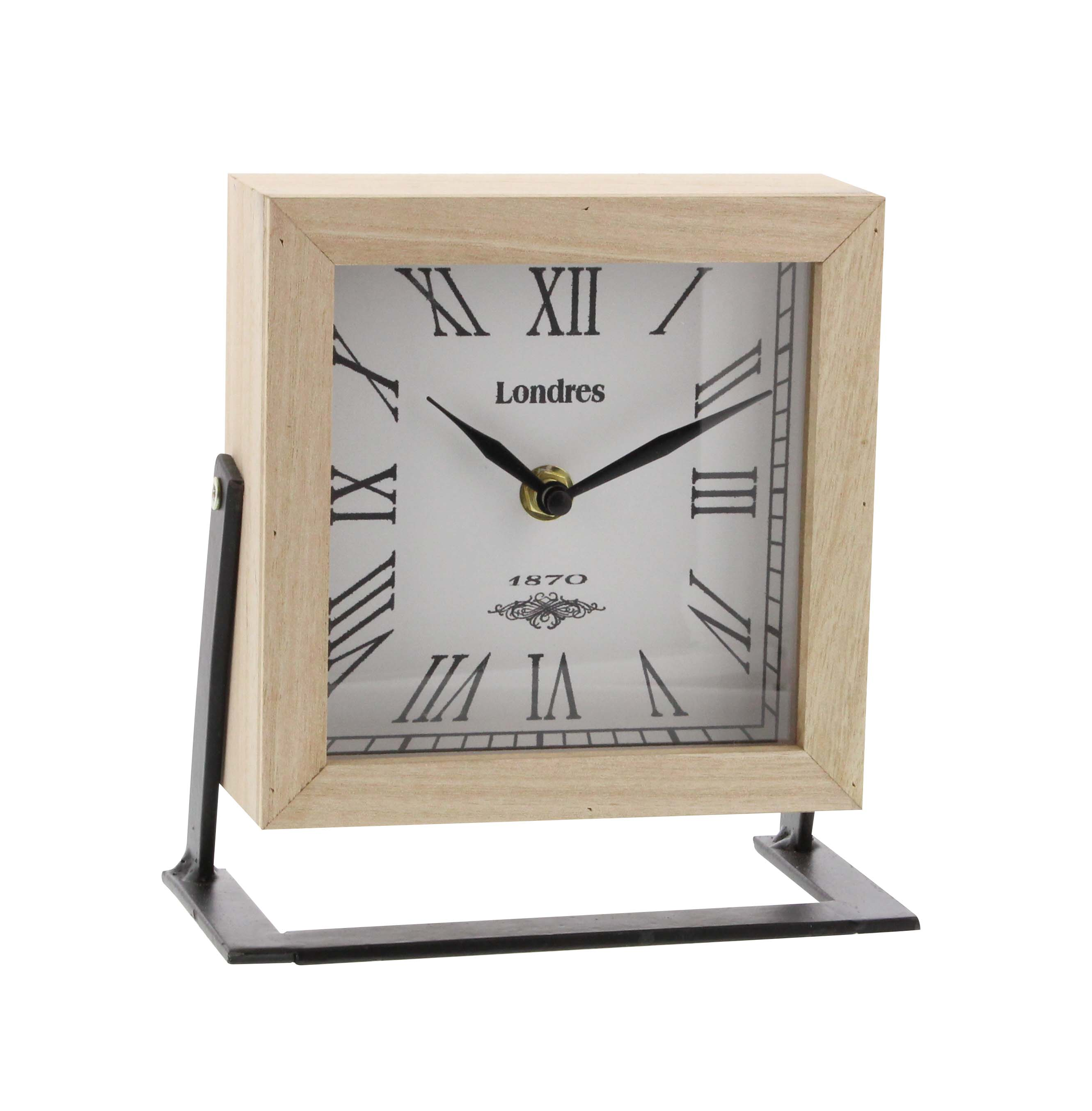 Decmode Modern 7 x 7 inch iron and wood square table clock, Multicolor by DecMode