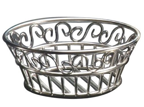 "(SSLB94) 9"" Round Stainless Steel Scroll Bread Basket, Round scroll bread basket By American Metalcraft by"