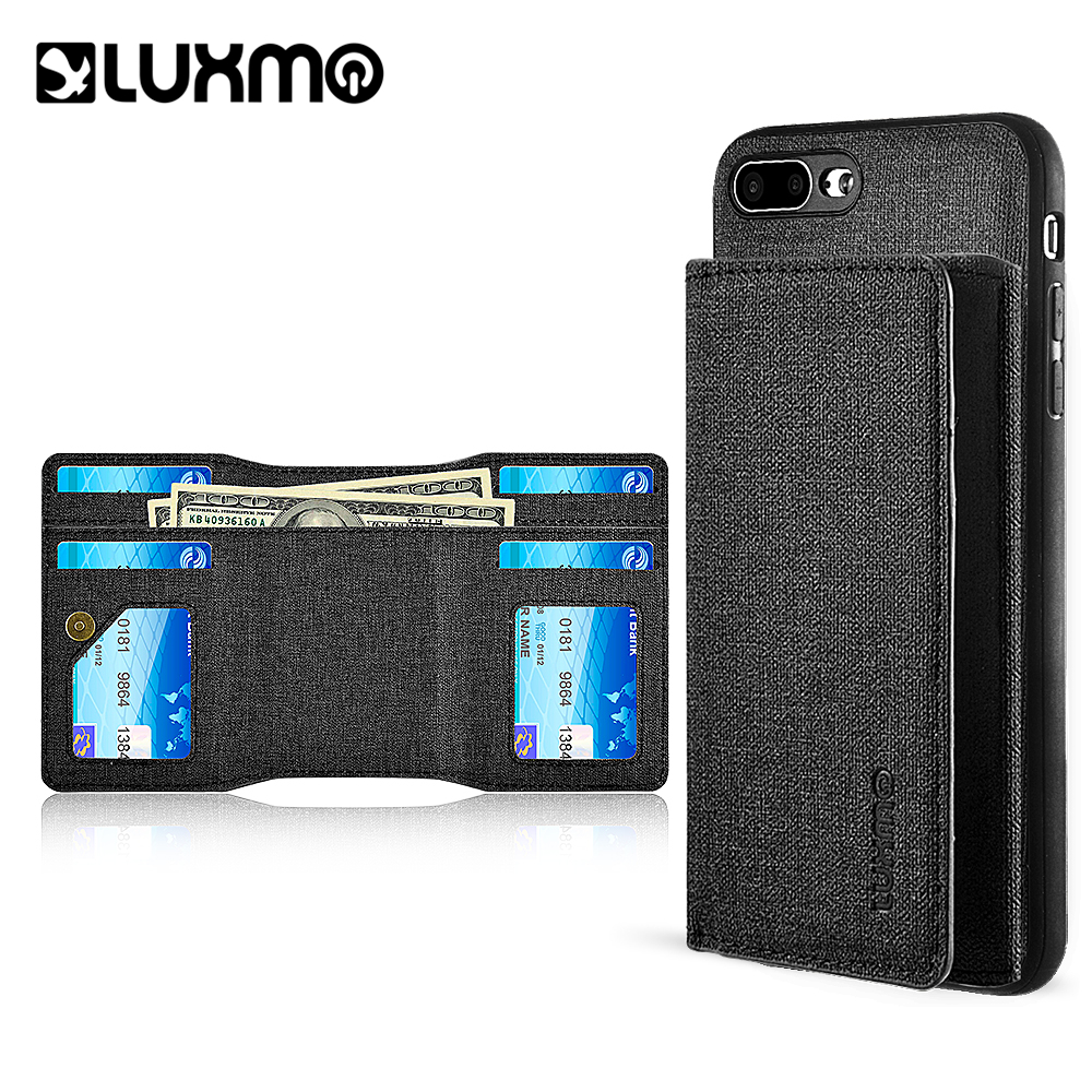 Luxmo Phone Case for iPhone 8 / 7 Plus Wallet Case With Magnetic Detachable Wallet - Black