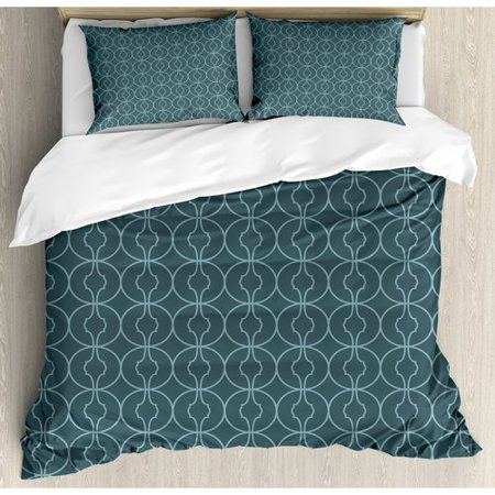 Ambesonne Ethnic Moroccan Style Geometric Rounds Oriental Edged Inner Shapes Image Duvet Cover Set ()