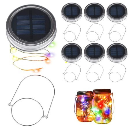 6 Pack Mason Jar Lights 20 LED Solar Colorful Fairy String Lights Lids Insert for Patio Yard Garden Party Wedding Christmas Halloween Decorative Lighting Fit for Regular Mouth Jars with 6 Hangers - Easy Halloween Yard Decorations+homemade