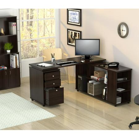 Inval Modern Espresso L-Shaped Computer Work Center
