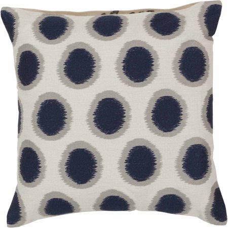 Art of Knot Amory Hand Crafted Satin Embroidery Circles Linen Decorative Pillow with Poly Filler, Cobalt