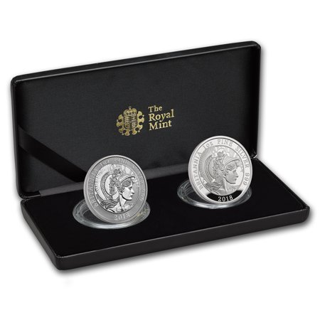 2018 2-Coin Silver 1 oz Britannia Proof/Reverse Proof Set (2018 Coin Proof Set)