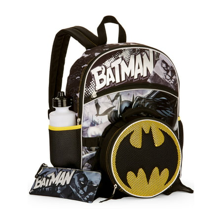 86001cd595f8 Batman - Batman 5-Piece Backpack Set With Lunch Bag - Walmart.com