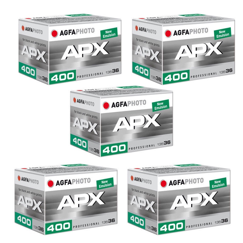 5 Rolls Agfa Photo APX 400 36 Exp. Pro Black and White Negative 35mm Film by Agfa
