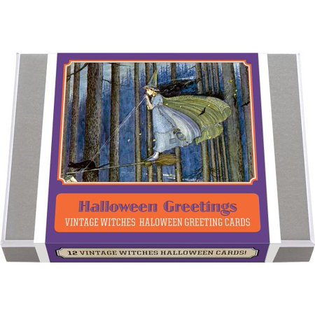 Greeting Cards-Halloween: Halloween Greetings - Vintage Witches Halloween Greeting Cards - Vintage Halloween Book Boxes