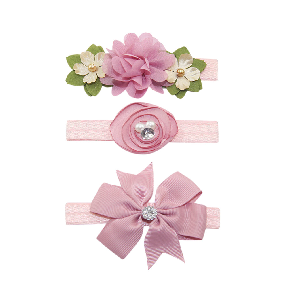 Outtop 3Pcs Kids Elastic Floral Headband Pearl Hair Girls baby Bowknot Hairband Set