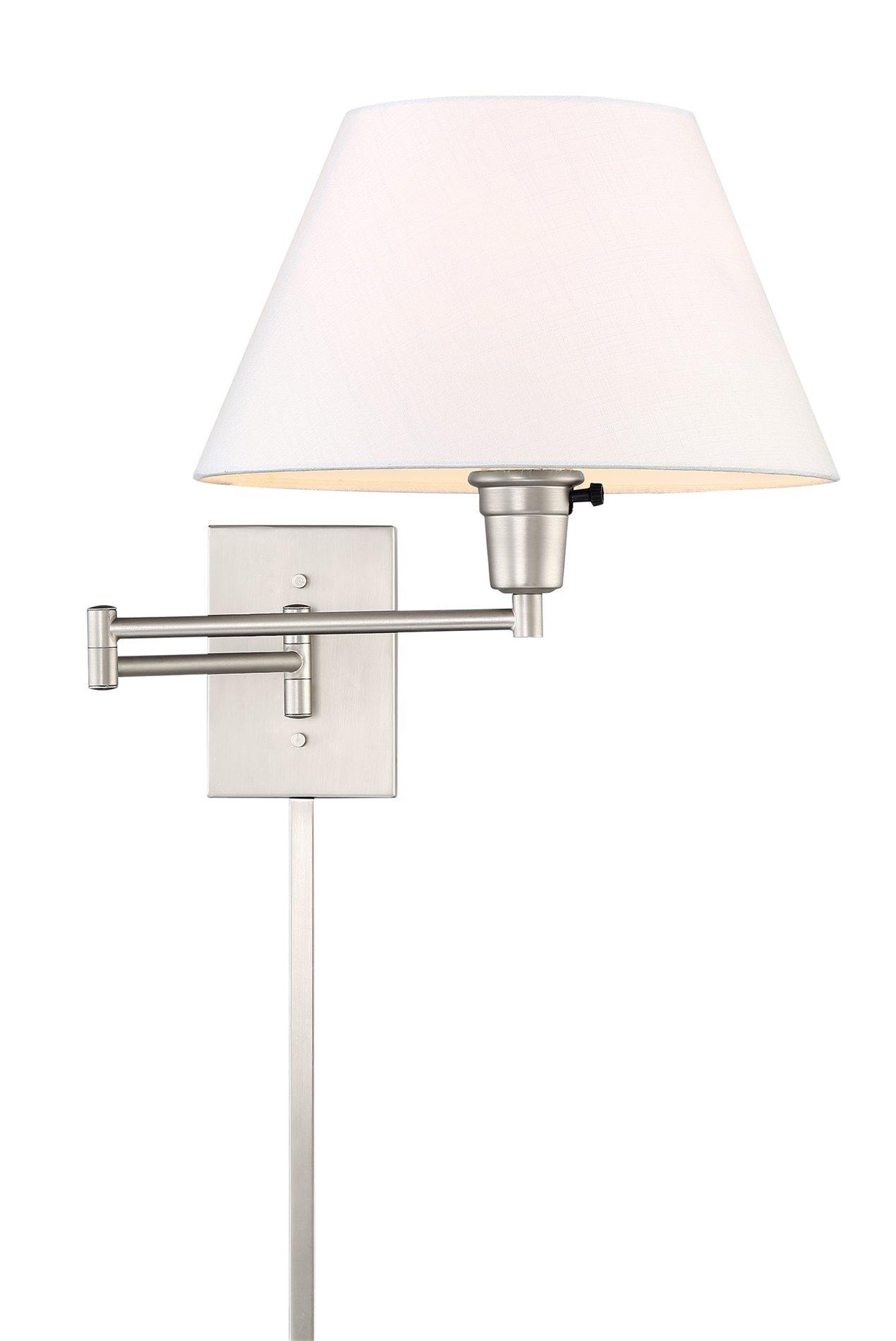 """Cambridge 13/"""" Swing Arm Wall Lamp Plug In//Wall Mount 150W 3-Way Black Fin..."""