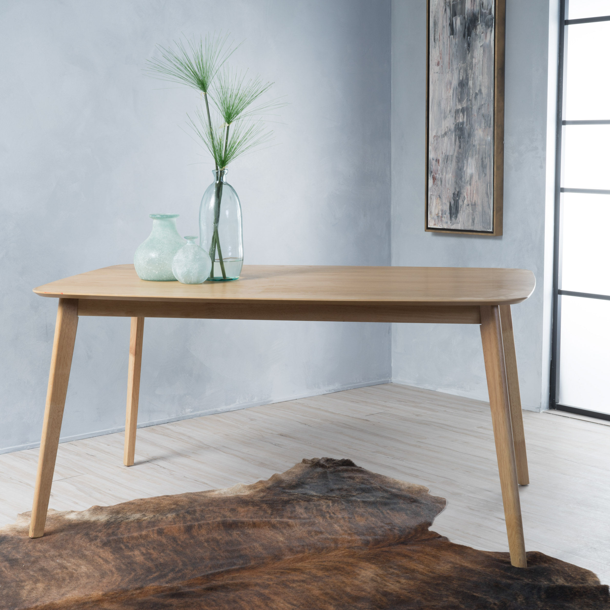 Noble House Layla Natural Oak Finish Dining Table - Walmart.com