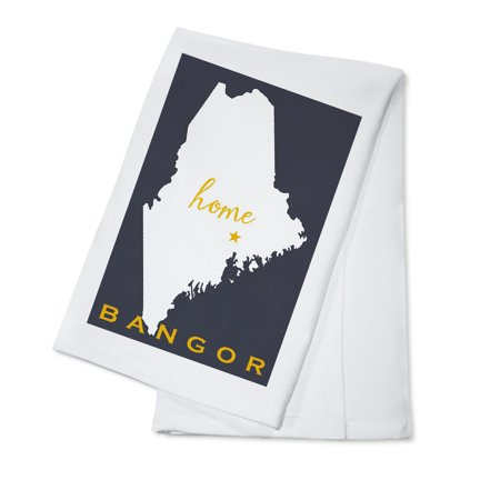 Bangor, Maine - Home State - White on Gray - Lantern Press Artwork (100% Cotton Kitchen Towel)](Party City Bangor Maine)