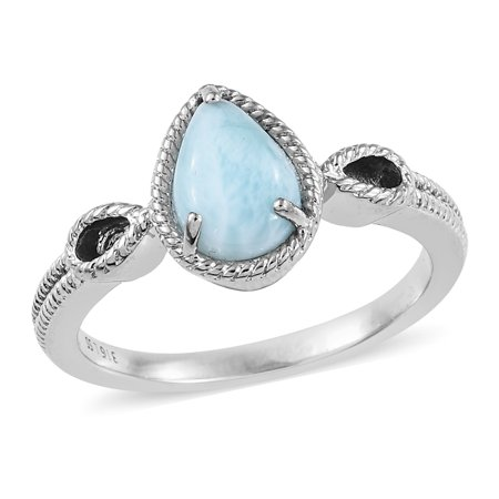 Solitaire Ring Stainless Steel Pear Larimar Jewelry for - Larimar Pear Ring