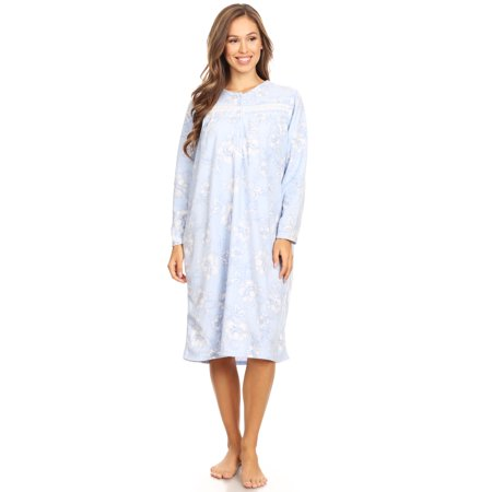 4026 Fleece Womens Nightgown Sleepwear Pajamas Woman Long Sleeve Sleep Dress Nightshirt Blue 1X (Long Ladies Gowns)