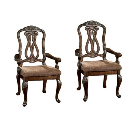 Ashley North Shore Dark Brown Dining Upholstered Arm Chair Set of 2 D553-03A