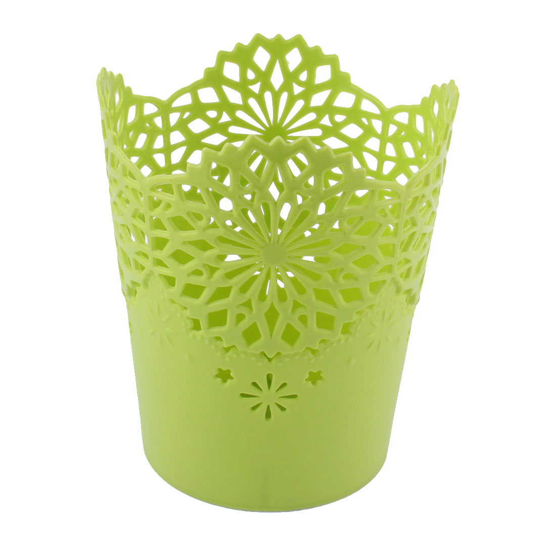 Plastic Flower Pattern Mini Litter Garbage Trash Can Storage Holder Bucket Green