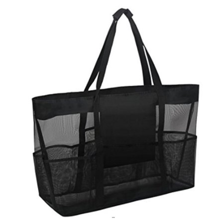 Mesh Beach Bag, Extra Large Heavy Duty Grocery & Picnic Gym Toy Tote Bag with Zipper Closure Anti-Rip Handles 8 Oversized Pockets Zipper Purse - Teacher Tote Bags With Pockets