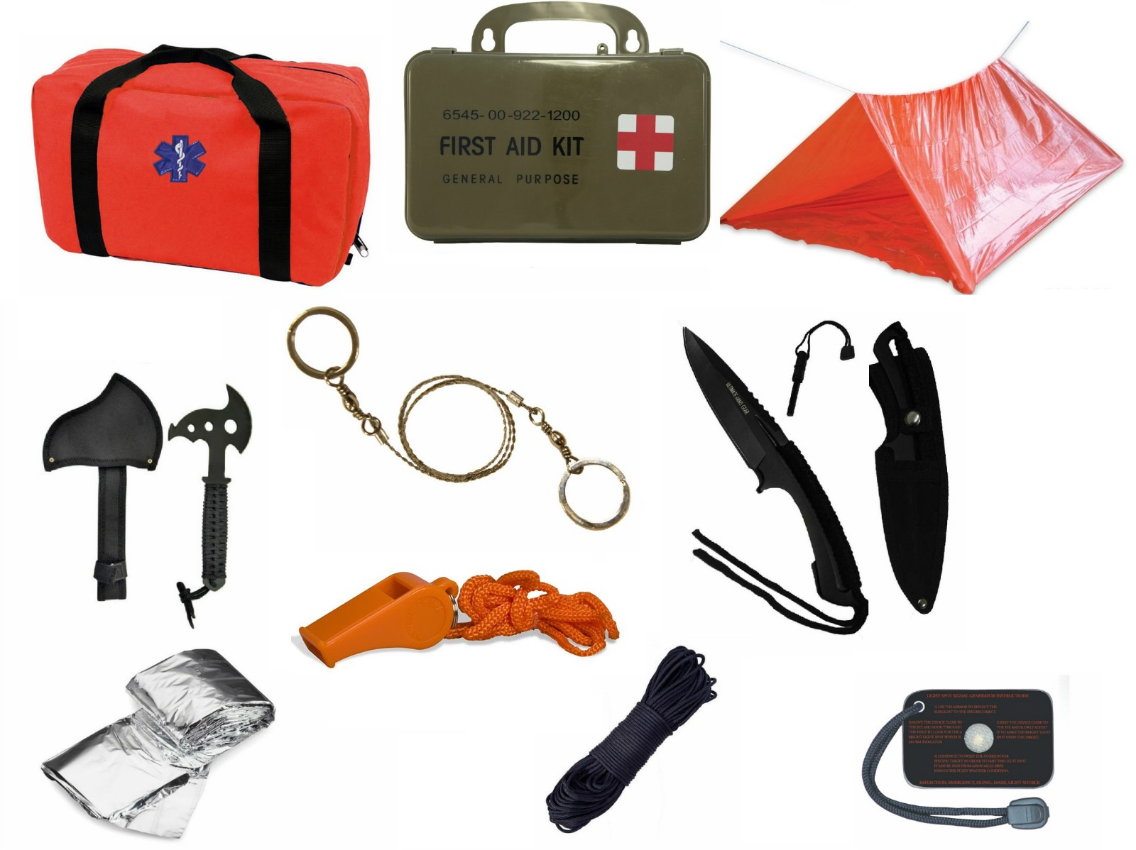Click here to buy Ultimate Arms Gear Orange Emergency Survival Rescue Bag Kit; Signal Mirror, Polarshield Blanket, Knife Fire Starter,....