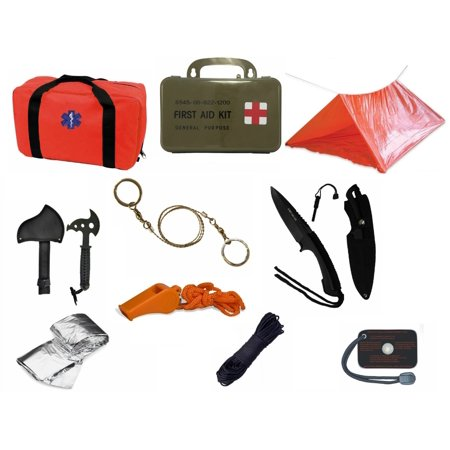 (Ultimate Arms Gear Orange Emergency Survival Rescue Bag Kit; Signal Mirror, Polarshield Blanket, Knife Fire Starter, Wire Saw, 50' Foot Paracord, Camping Tube Tent, Whistle & First Aid Kit)