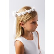 Girls Ivory Flower Pearl Rhinestone Embellished Special Occasion Crown