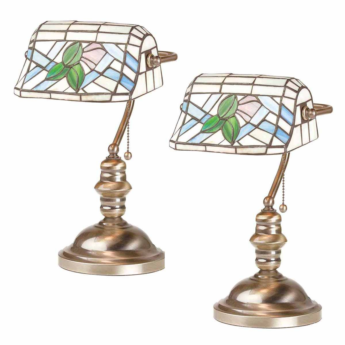 2 Banker's Lamps Stained Glass Antique Brass Set of 2 | R...