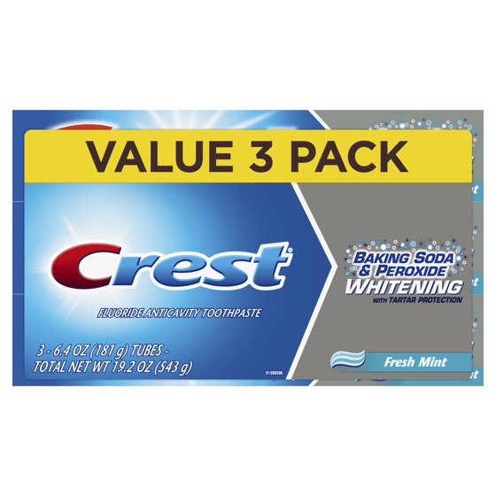 Crest Baking Soda & Peroxide Whitening with Tartar Protection Toothpaste,  Fresh Mint, 6 4 oz , Pack of 2