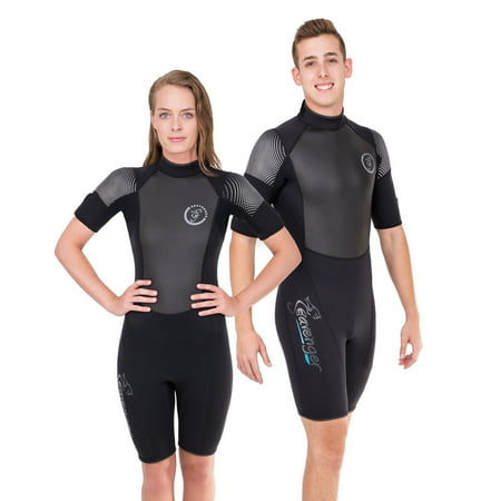 Seavenger 3mm Shorty Wetsuit with Stretch Panels, Perfect for Scuba Diving, Snorkeling, Surfing (Surfing Aqua, Men's 5X-Large) ()