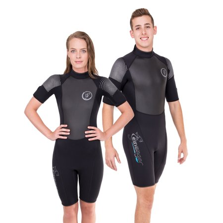 Seavenger 3mm Shorty Wetsuit with Stretch Panels, Perfect for Scuba Diving, Snorkeling, Surfing (Surfing Aqua, Men's 5X-Large)